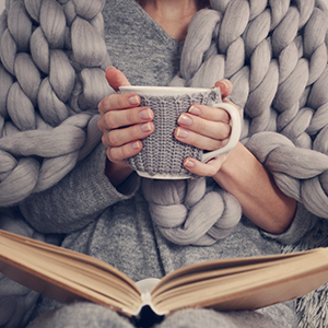 Woman with Coffee and Book